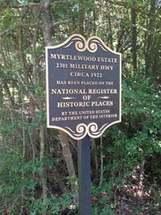 This is the sign showing Myrtlewood is on the National Historic Register.