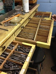 "These are just some of the drawers in Jimmy Hayes' shop that he said are filled ""with every size drill, tap and die there is."""