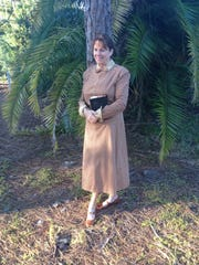 Janet Murphy in 1930s costuming portrays Koreshan community member Vesta Newcomb at the Ghost Walks.