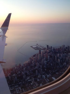 The city of Chicago at sunrise Friday, April 24, as Alyssa Bloechl's flight from Green Bay arrives. Bloechl is part of the eight-person Door County delegation that will spend four days and three nights in Jingdezhen, China, starting Monday.