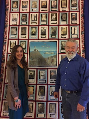 Grace Atherton said her dad, William Atherton, was her initial inspiration for the military tribute quilt hanging at the Indiana War Memorial.