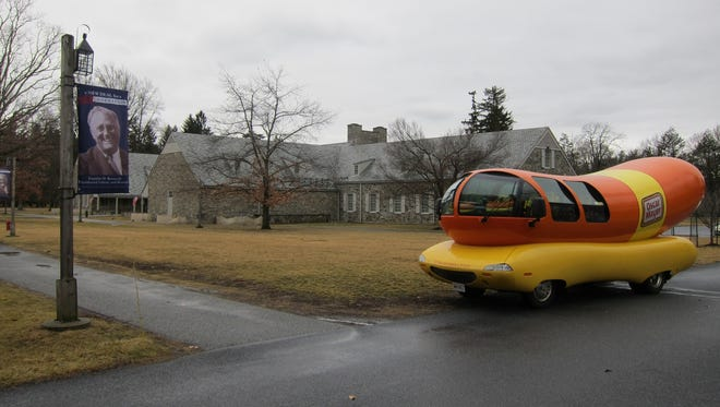The Oscar Mayer Wienermobile stopped in Dutchess County as part of a nationwide tour. Thursday's stops included  the Walkway over the Hudson in Poughkeepsie and Franklin D. Roosevelt Presidential Library and Museum in Hyde Park.