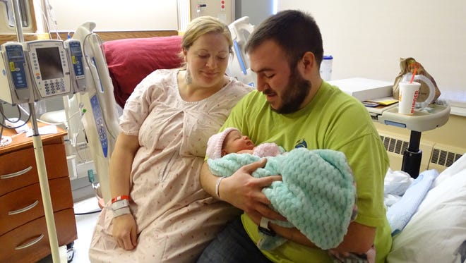 Dana and Gavin Ralston had a baby girl Tuesday morning, the first baby born at OhioHealth Marion General Hospital in the New Year.