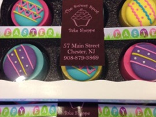 Easter Chocolate Covered Oreos on display at Sweet Spot Bake Shoppe, Chester.