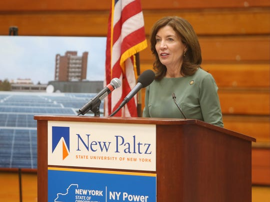 Lt. Gov. Kathy Hochul speaks during Wednesday's ribbon cutting for a new solar array at SUNY New Paltz.