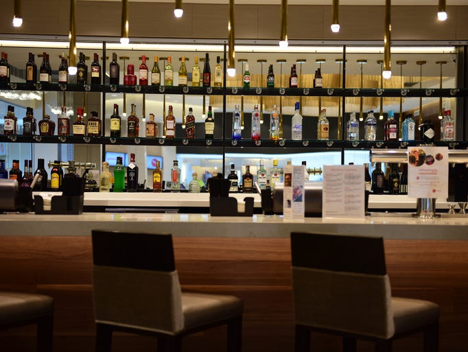 A fully stocked bar at the AMC theater opening this