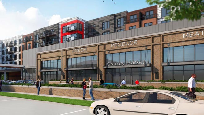 A rendering of the Meijer and residential units coming to Lafayette Park.