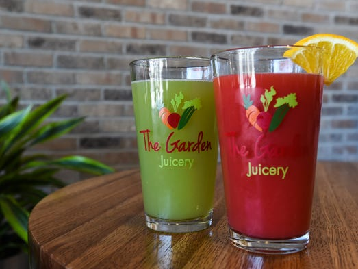 Green Lemonade and Rise N' Shine juices from the tap