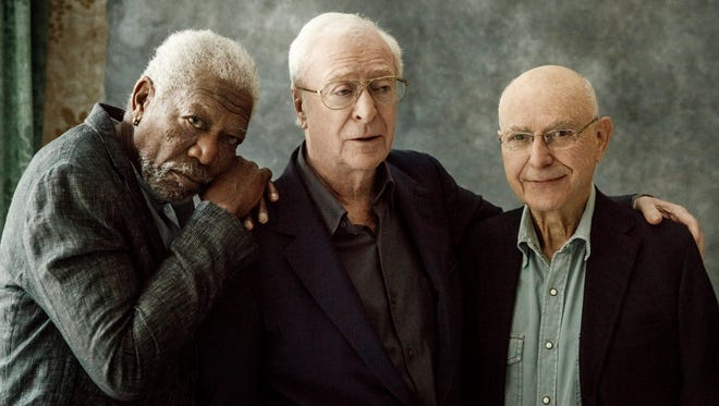 Morgan Freeman, left, Michael Caine and Alan Arkin pose for a portrait in New York on March 27, 2017.