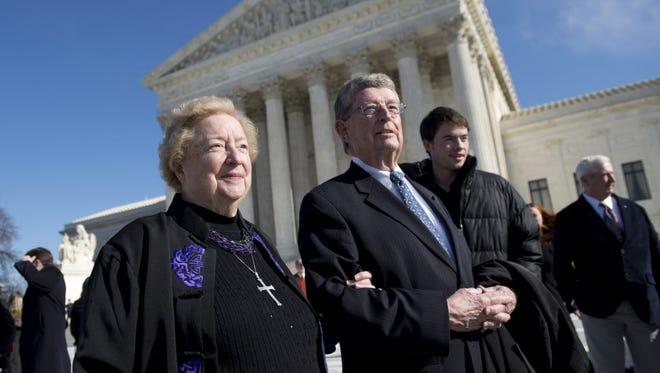 Anti-abortion protester Eleanor McCullen and her attorney Philip Moran.