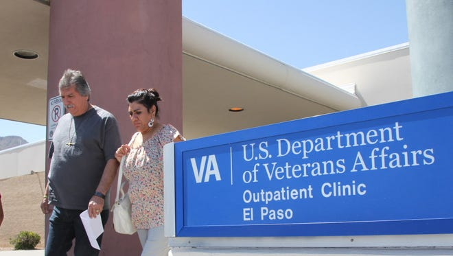 David and Marianne Trujillo exit the Vetaran Affairs facility in El Paso last month.