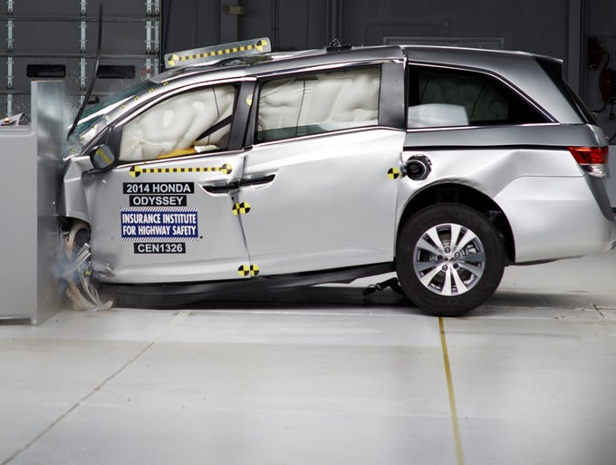 Honda takes a hard hit in IIHS testing. It became the first minivan to get top crash ratings