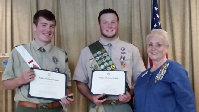 Jersey Blue Daughters of the American Revolution (DAR) Chapter Past Regent Susan Luczu presented Youth Good Citizenship awards and pins to Adam Nuzzi and Jared Endler in recognition of their scouting accomplishments and attaining the rank of Eagle Scout.