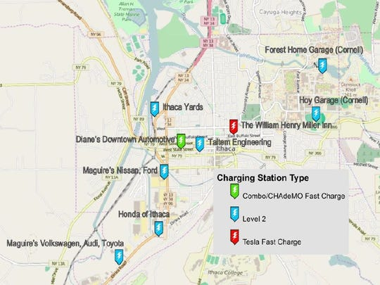A map showing existing Tompkins County car-charging stations