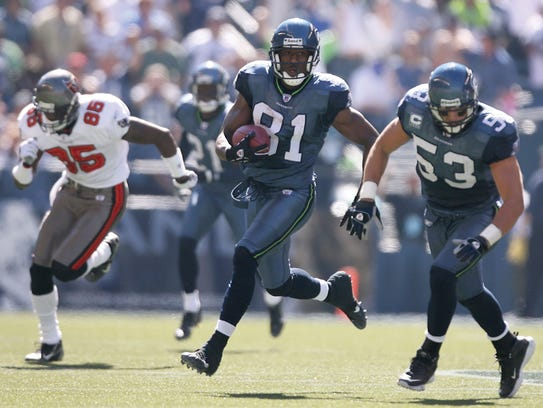 Wide receiver Nate Burleson (No. 81) of the Seattle