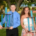 Thomas A. Edison Athletes of the Year Josh Cosgrove and Kirstin Rozell with their awards after the school's awards reception June 9.