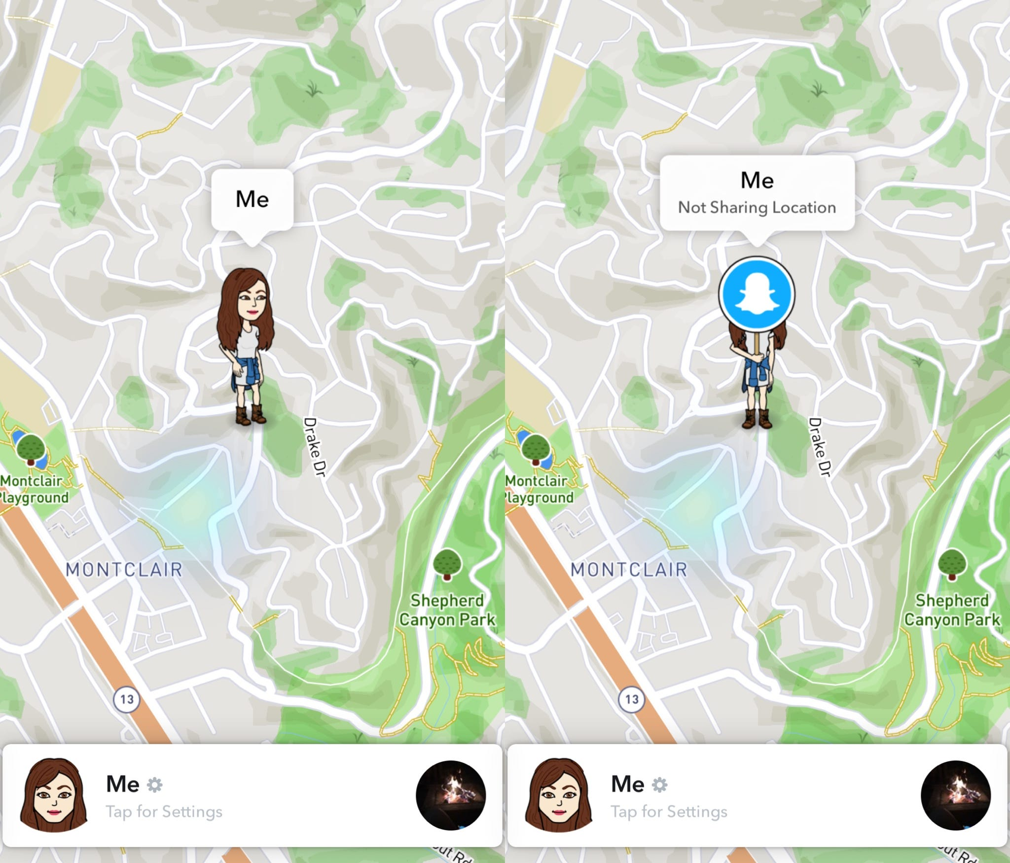 Snapchat's Snap Map enabled to the left, and with Ghost Mode on the right