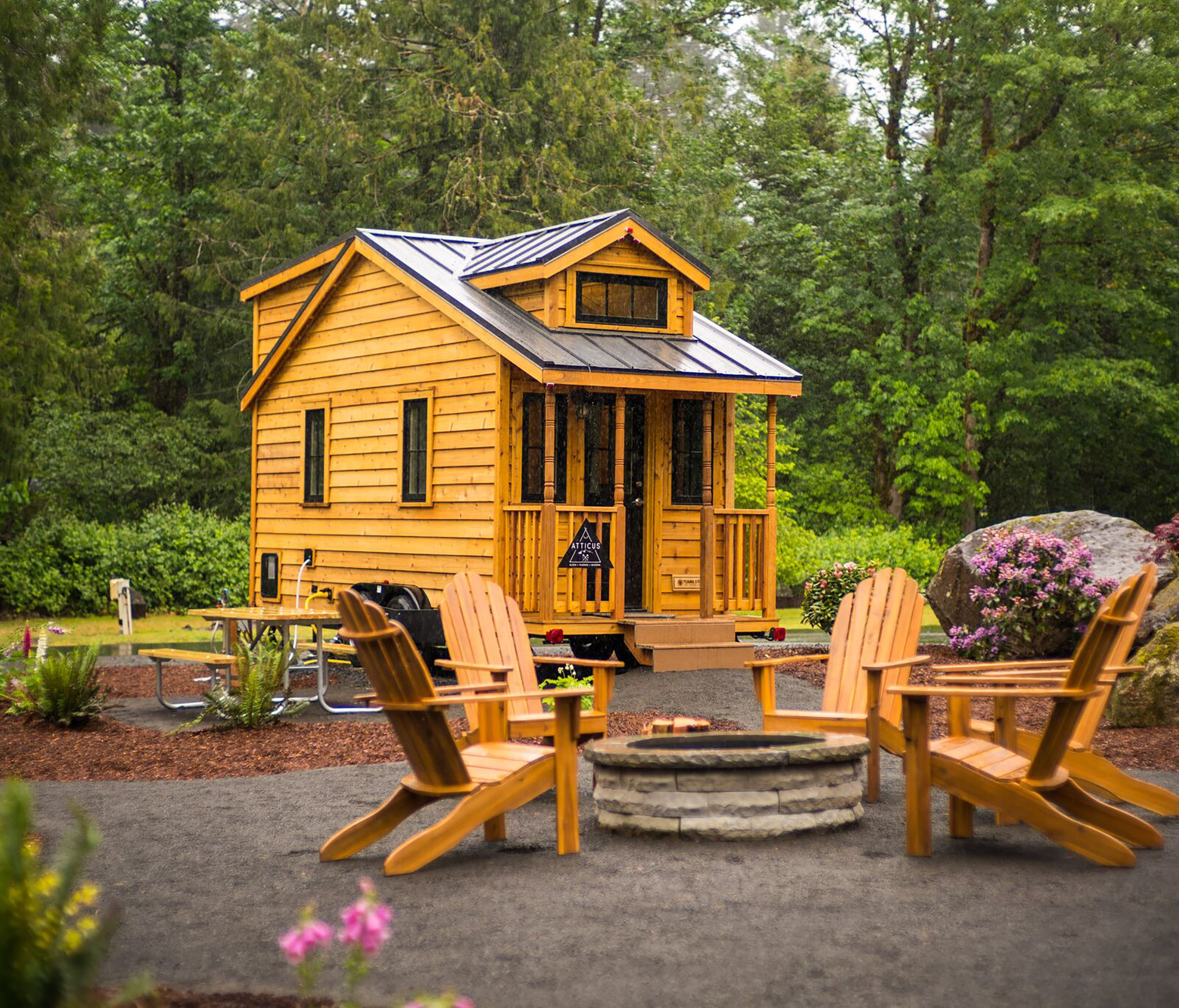 A tiny home known as Atticus at the Mt. Hood Tiny House Village outside of Portland, Ore.