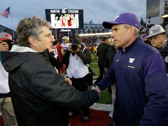 Washington and Chris Peterson have won four straight Apple Cups against Mike Leache's Washington State Cougars.