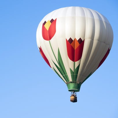 One of over a dozen hot air balloons that launched