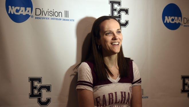 Melissa Johnson announces, Wednesday, March 15, 2017, that she will once again be the head coach of women's basketball at Earlham College in Richmond.