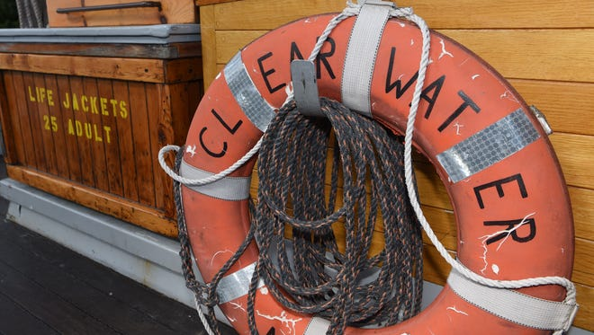 A life preserver on the sloop Clearwater, pictured while docked in Cold Spring.