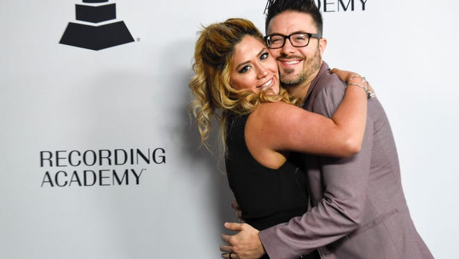 Leyicet Peralta and Danny Gokey enjoy themselves as they walk the red carpet at Nashville's Nominee Grammy Party for the 60th Annual Grammy Awards at the  Loews Vanderbilt Hotel  in Nashville, Tenn., Thursday, Jan. 11, 2018.  Winners will be announced Sunday January 28, 2018 at the New York City Madison Square Garden.