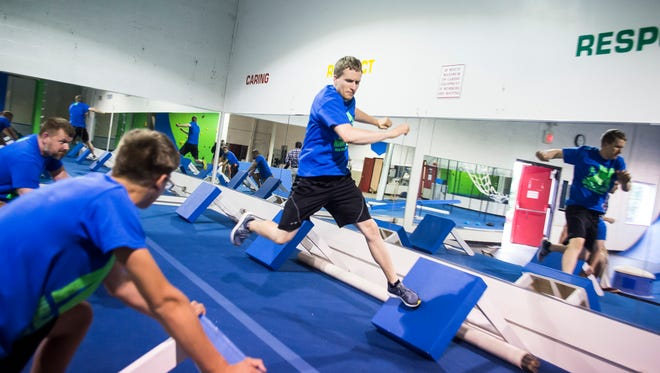 Chad Riddle runs through the course at Ninja Logic, a new ninja warrior gym in Hanover. The gym will have its soft opening on Tuesday, June 12 at 4 p.m.