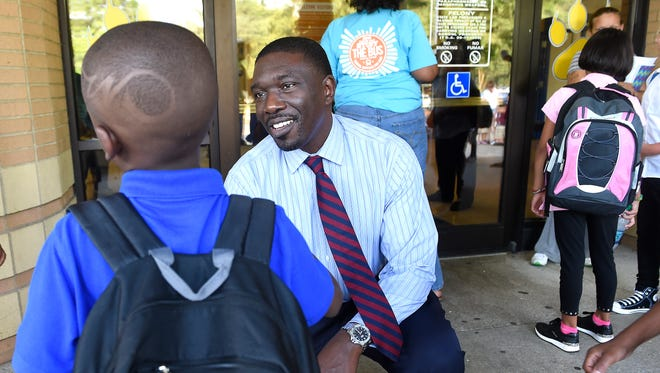 Director of Schools Shawn Joseph talks with students Aug. 3, 2016, on their first day at Tom Joy Elementary.