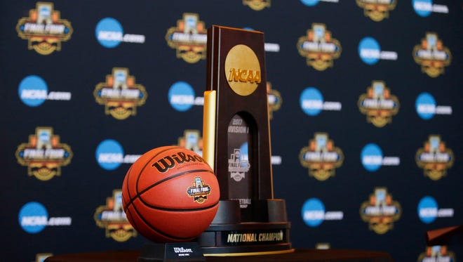 Final Four ball and National Champion trophy during a press conference on Jan. 25, 2017 in Phoenix, Ariz.