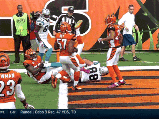 Vontaze Burfict can be seen pulling on Greg Olsen's foot.