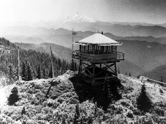 Historic photo of Bull of the Woods Lookout from days when it was an operating fire lookout.