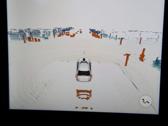 A LIDAR screen in the backseat of a Uber self-driving