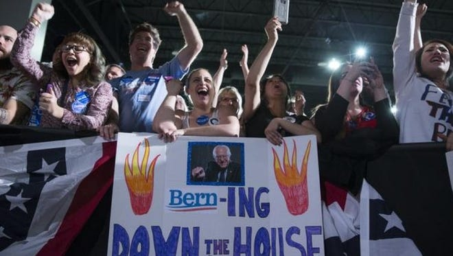Bernie Sanders supporters rally in Las Vegas on Thursday, Feb. 18, 2016.