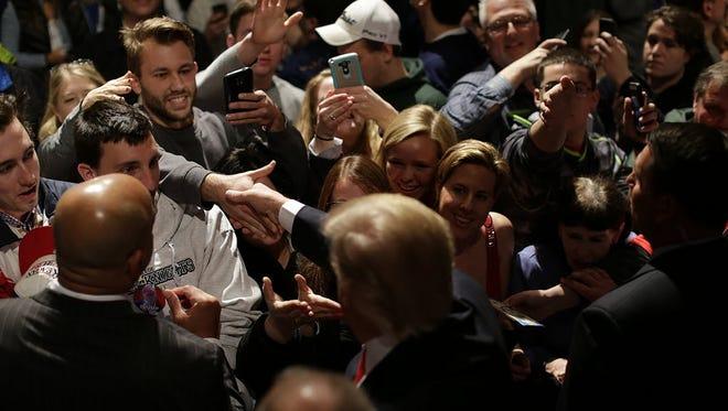 Donald Trump campaigns in De Pere, Wis., on March 30, 2016.