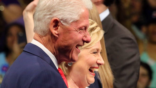 Hillary and Bill Clinton acknowledge supporters at the Brooklyn Navy Yards after Hillary Clinton spoke June 7, 2016. Clinton has secured enough delegates to secure the Democratic nomination for President.