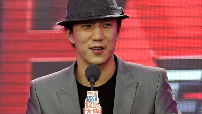 Jaycee Chan speaks during an awards ceremony for the Chinese entertainment industry in Beijing, China on March 31, 2011. Chinese prosecutors say on Monday, Dec. 22, 2014, that they have formally indicted Jaycee Chan, son of Hong Kong action film star Jackie Chan on the charge of sheltering others to use drugs, more than four months after he was first detained.