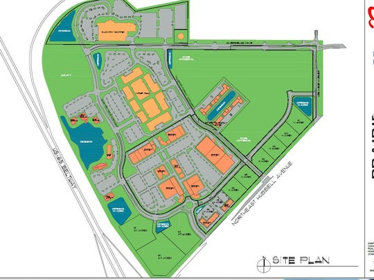 The layout of the Shoppes at Prairie Crossing retail, residential and commercial center in Altoona includes a newly announced 40,000-square-foot retail center.