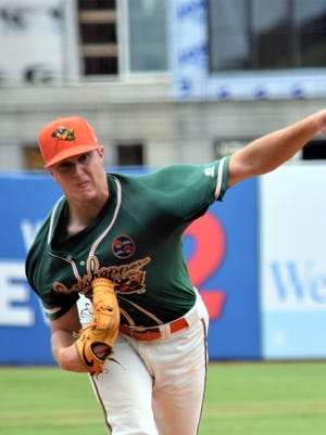Trevor Rogers throws against the Ashville Tourists on Tuesday in Greensboro, N.C. Rogers threw six complete innings to register his first win as a professional player with a 6-2 victory.