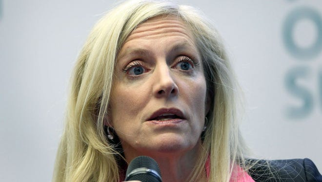 """Lael Brainard, Member of the Board of Governors of the US Federal Reserve, addresses the audience of the """"ECB Forum on Banking Supervision"""" at the headquarters of the European Central Bank (ECB) in Frankfurt am Main, western Germany, on November 4, 2015."""