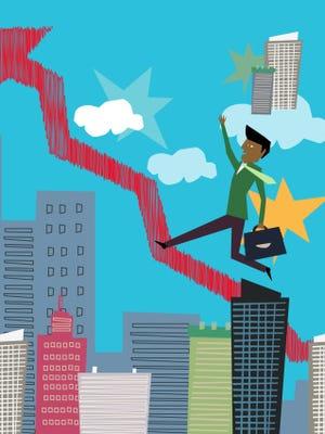 Businessmen Climbing Upward Arrow