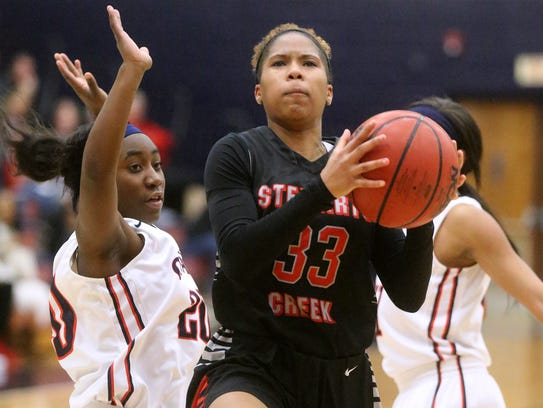 Stewarts Creek's Brandi Ferby (33) goes up for a shot