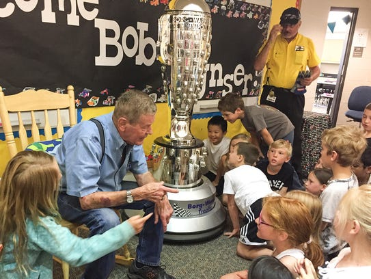 Bobby Unser and the Borg-Warner Trophy visit West Clay