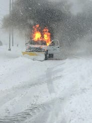 A DPW truck caught fire while plowing snow in Secaucus.