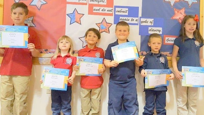 The Calvary Christian Academy recognized its Terrific Kids for the month of April.