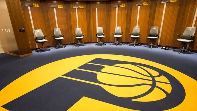 A locker room inside the new St. Vincent Center, which houses sports-centered medical facilities, and training facilities for Pacers Sports and Entertainment, Indianapolis, Thursday, August 24, 2017.