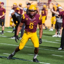 Wide receiver Cameron Smith (6) practices during the ASU spring football practice at the Sun Devil Stadium on Saturday, March 22, 2014 in Tempe.