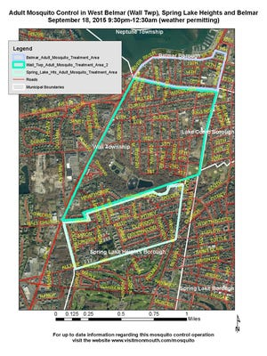 Monmouth County will be spraying these areas in Belmar, Wall and Spring Lake Heights after continued evidence of West Nile virus.