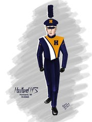 An artist's rendering shows the look of Hartland High School's new band uniforms, with the slight change that the plume on the cap will be blue and gold.