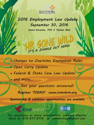 HR Gone Wild 2016 Employment Law Update poster for Sept. 30 event.